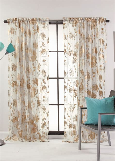 blossom curtains blossom metallic print semi sheer curtains stylemaster