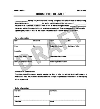 create  horse bill  sale legal templates