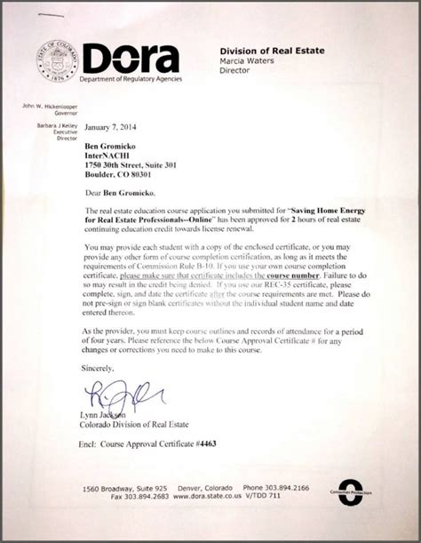 A Credit Approval Letter From The Neighborhood Assistance Corporation Of America Naca Free Continuing Education For Licensed Real Estate Agents In Colorado Internachi