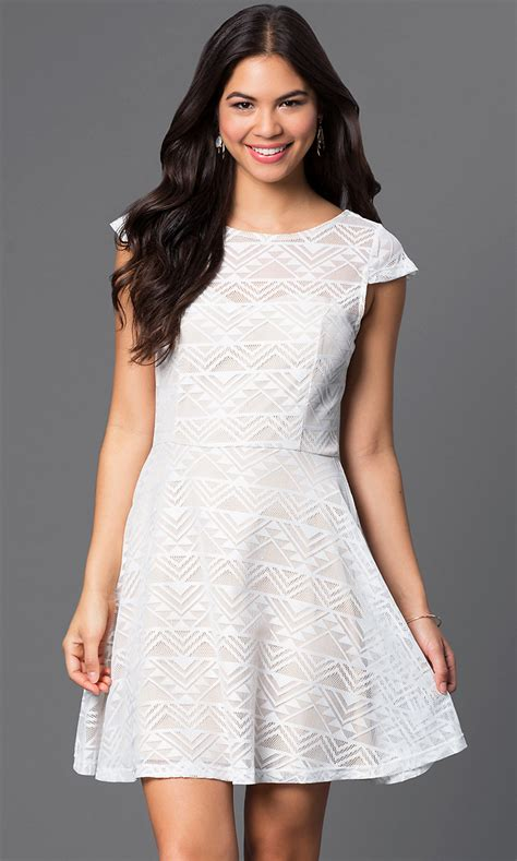 short white scoop neck cap sleeve dress promgirl