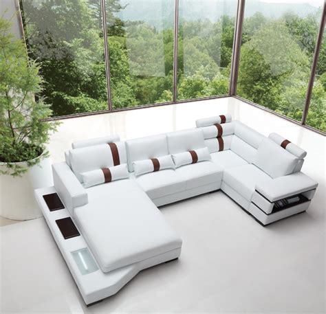 modern bonded leather sectional sofa divani casa massimo contemporary bonded leather