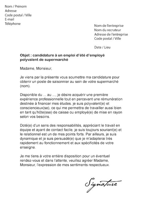 lettre de motivation d 233 t 233 supermarch 233 mod 232 le de lettre
