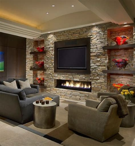 Ideas for contemporary fireplace with built ins and TV