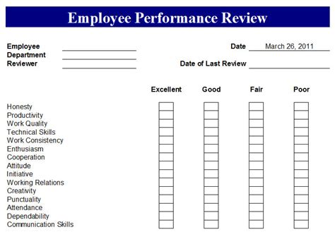 employee performance evaluation form sle