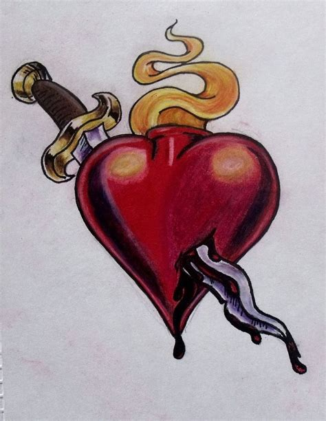 heart dagger tattoo and dagger by ifinch on deviantart
