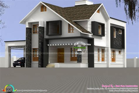 2015 sq ft sloping roof home kerala home design and sloping roof house plan in 2981 sq ft kerala home design
