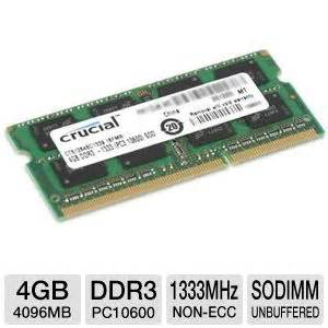 Memory Ddr3 4gb Pc10600 crucial ct51264bc1339 4gb laptop memory upgrade pc10600 ddr3 sodimm 1333mhz non ecc