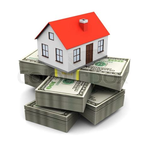 abstract 3d illustration of house on money stack real