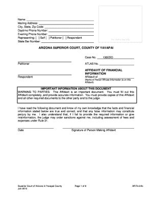 Yavapai County Superior Court Search Fillable Affidavit Of Financial Information Yavapai County Courts Website Fax