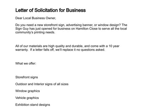 Business Letter Solicitation Template Letter Of Solicitation