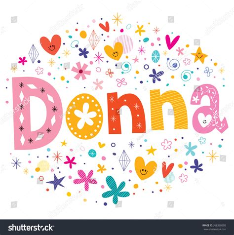 decorative design types donna girls name decorative lettering type stock vector