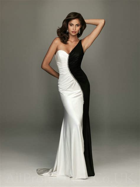 black white  shoulder satin gown pictures