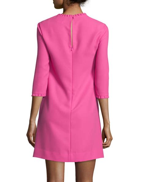 3 4 Sleeve Ruffled Dress kate spade new york dizzy 3 4 sleeve dress with ruffle trim
