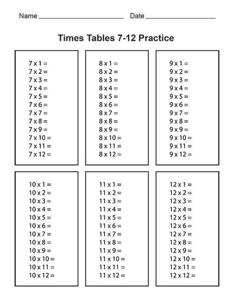 times tables practice sheets times tables 7 12 practice whole website has free
