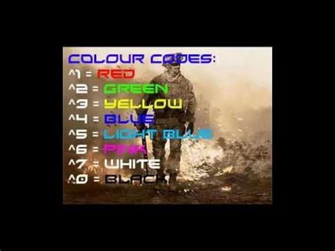 youtube color code mw2 colour codes youtube