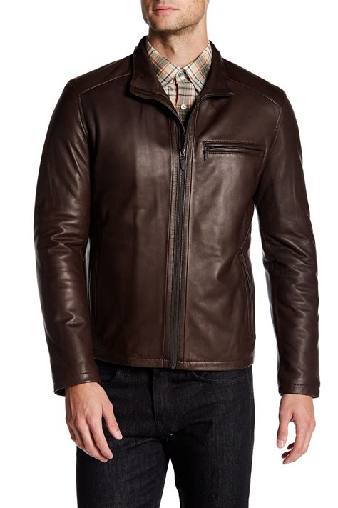 cole haan brown leather jacket cole haan genuine leather jacket in brown for lyst