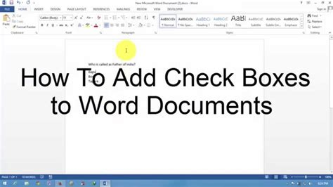 How To Add Check Boxes To Word Documents Youtube How To Add A Template To Word