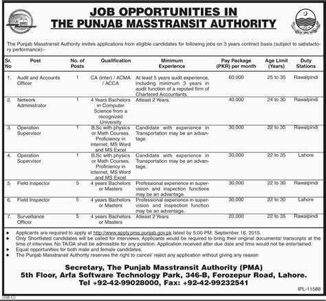 Operations Supervisor by In The Punjab Mass Transit Authority For Network Administrator Operations Supervisor