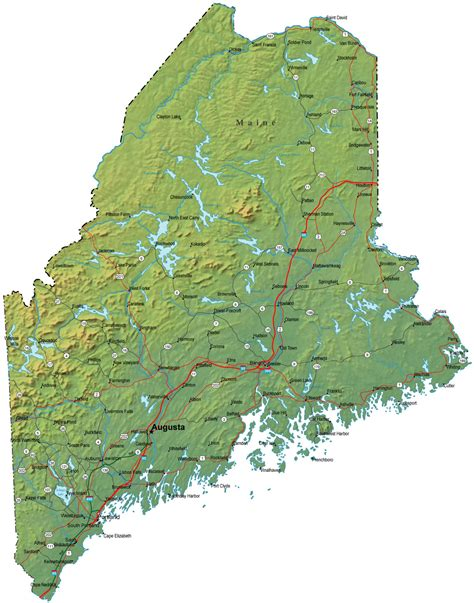 map maine detailed maine map me terrain map