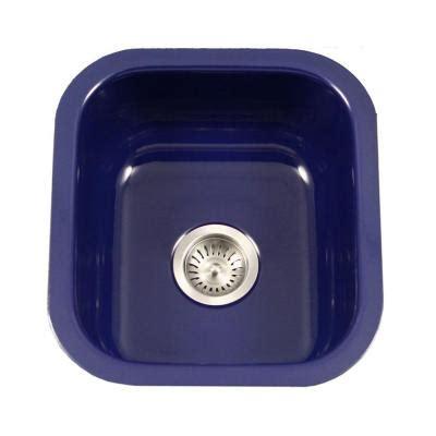 Blue Kitchen Sinks Houzer Porcela Series Undermount Porcelain Enamel Steel 16 In Single Bowl Kitchen Sink In Navy
