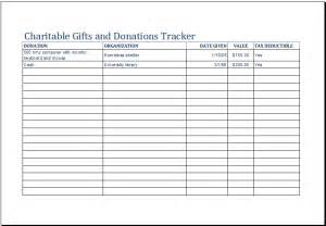 Donation List Template Charitable Gifts And Donations Tracker Template Excel