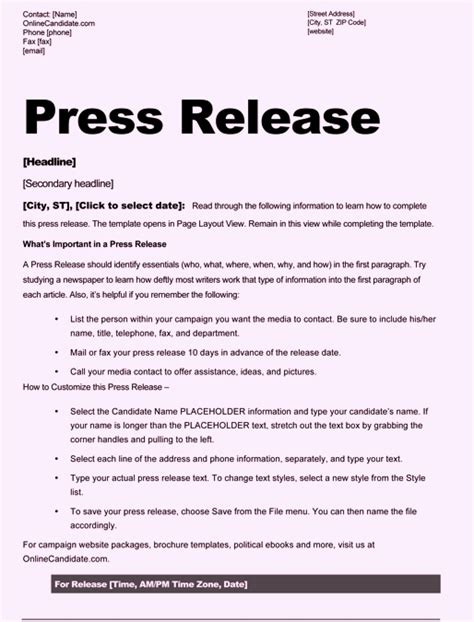 Free Sle Press Release Template Word Press Release Template