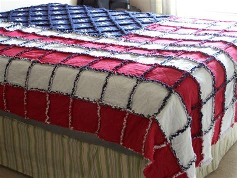 american flag 84x104 rag quilt 2layerflannel