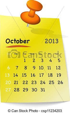 Calendrier Octobre 2013 Clipart Vecteur De Calendrier Octobre 2013 Jaune