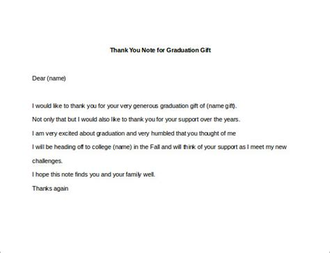 thank you letter after gift 8 thank you note for gift 8 free sle exle