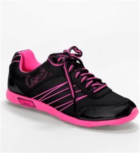 coach darla black neon pink sneakers tennis shoes size 7