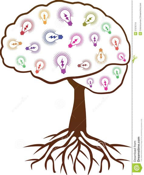 brain tree light up brain tree with ideas stock vector image of illuminate