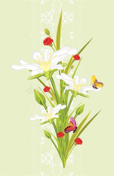 cartoline fiori gratis fiori e farfalle della primavera sui precedenti decorativi
