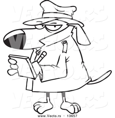 Vector of a Cartoon Watch Dog Detective Taking Notes