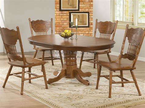 circular wooden kitchen table oak dining table set for 4