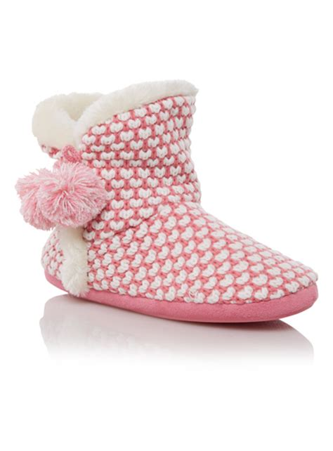 sainsburys slipper boots pink knitted slipper boots tu clothing