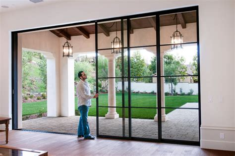 metal sliding patio doors steel pocket sliding doors mediterranean patio