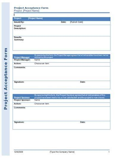 managing projects template project acceptance form for managing your project
