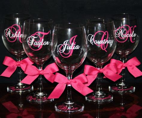 monogrammed barware glasses personalized bride and bridesmaid wine glasses cute