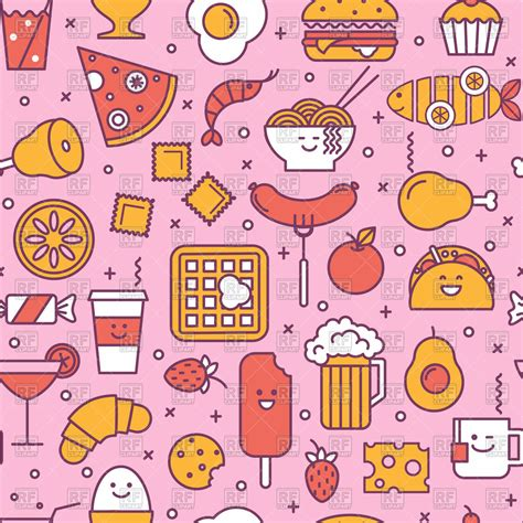 image pattern food seamless pink pattern with restaurant and fast food icon