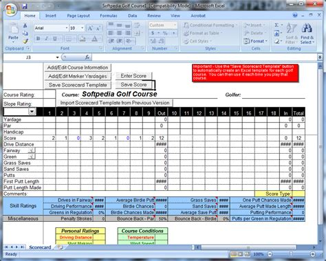 excel scorecard template golf scorecard template wordscrawl