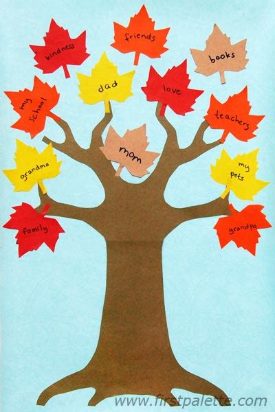 thankful template thankful tree craft crafts firstpalette