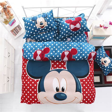 red mickey and minnie mouse full size kids cartoon bedding