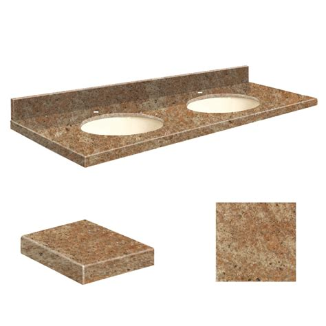 double bathroom sink tops shop transolid india gold granite undermount double sink
