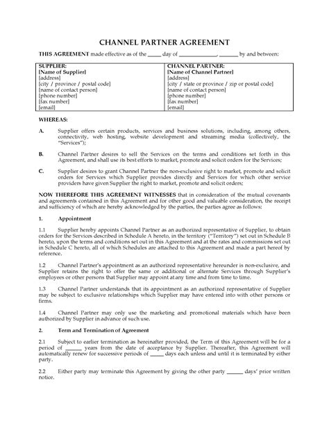 channel partner agreement template canada channel partner agreement forms and