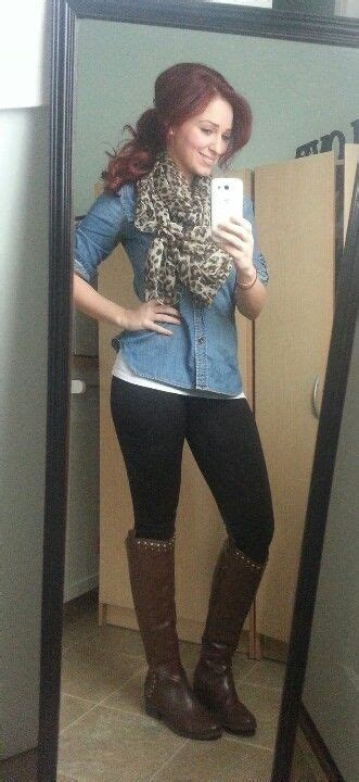 denim shirt leopard scarf black leggings brown riding