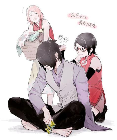sarada sasuke uchiha and sakura family tags fanart naruto haruno sakura uchiha sasuke png