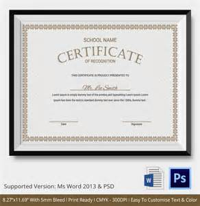 Certificate Of Recognition Templates by Certificate Of Recognition Template 7 Free Word Pdf