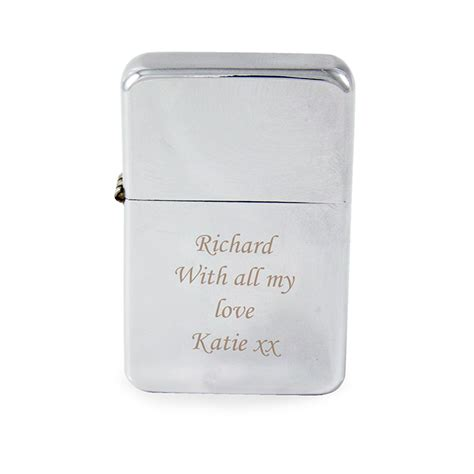 personalised engraved silver lighter