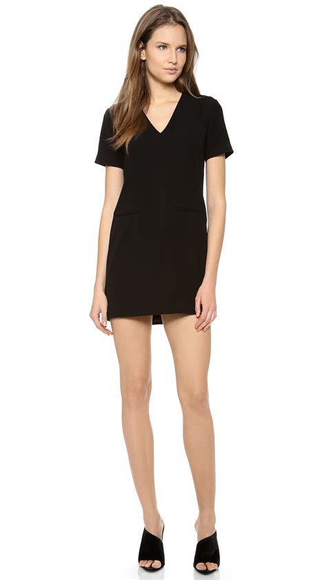 v neck drape dress t by alexander wang drape suiting v neck dress black in