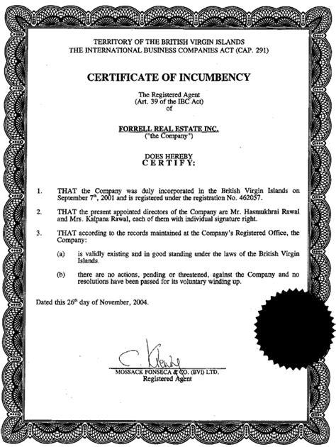 certificate of incumbency template kalpana rawal certificate